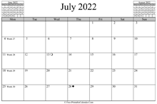 July 2022 Calendar (horizontal)