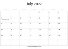 July 2022 Calendar Template.July 2022 Calendar Templates