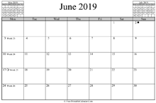 June 2019 Calendar (horizontal)