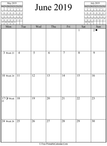 june 2019 calendar vertical