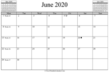 june 2020 calendar horizontal