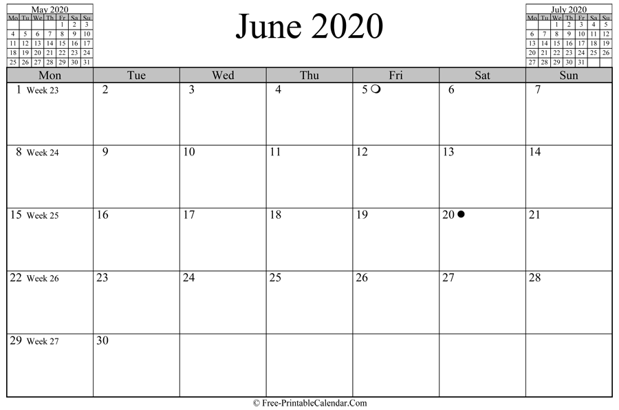 june 2020 Calendar (horizontal layout)