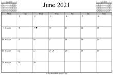 June 2021 Calendar (horizontal)