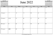 June 2022 Calendar (horizontal)