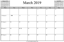 March 2019 Calendar (horizontal)