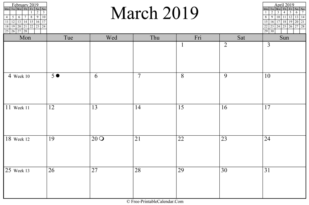 march 2019 Calendar (horizontal layout)