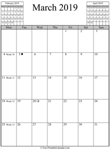 march 2019 calendar vertical
