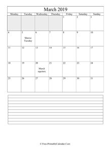 march 2019 editable calendar notes portrait
