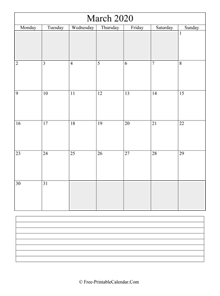 march 2020 editable calendar with notes space