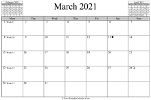 March 2021 Calendar (horizontal)