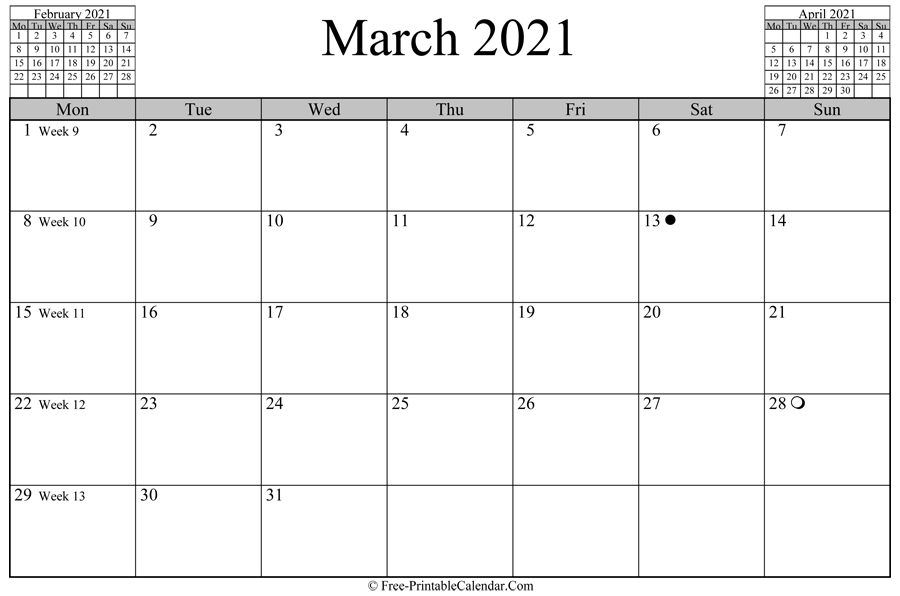 march 2021 Calendar (horizontal layout)