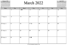 March 2022 Calendar (horizontal)