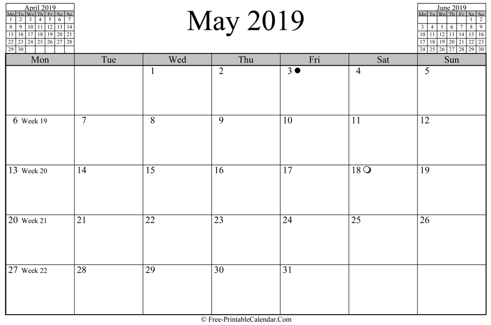 may 2019 Calendar (horizontal layout)