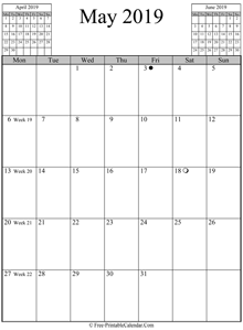 may 2019 calendar vertical