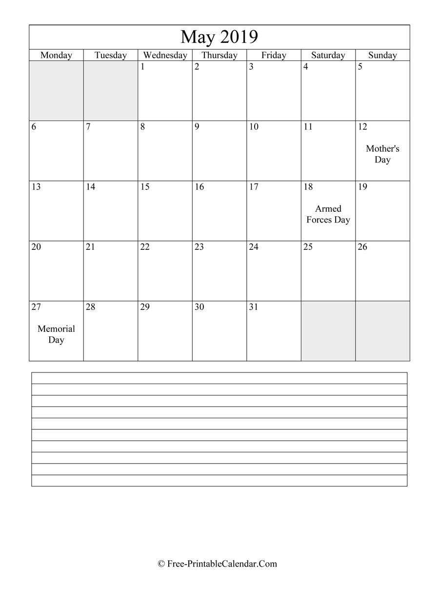 may 2019 Editable Calendar with notes