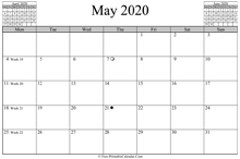 may 2020 calendar horizontal