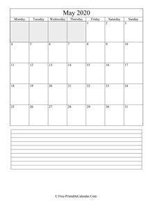 may 2020 editable calendar with notes space