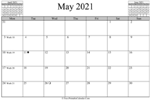 May 2021 Calendar (horizontal)