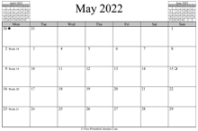 May 2022 Calendar (horizontal)