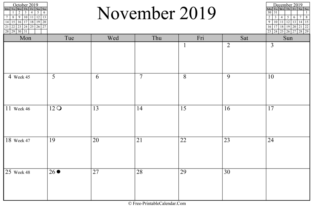 november 2019 Calendar (horizontal layout)