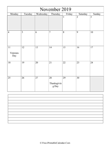 november 2019 editable calendar with notes space