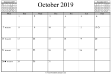 October 2019 Calendar (horizontal)