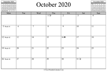 october 2020 calendar horizontal