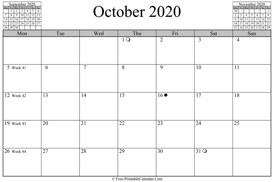 october 2020 Calendar (horizontal layout)