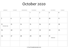 october 2020 calendar printable with holidays