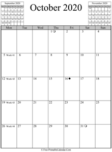october 2020 calendar vertical