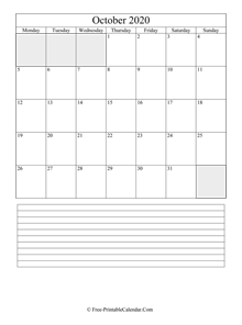 october 2020 editable calendar with notes space
