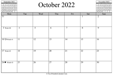 October 2022 Calendar (horizontal)
