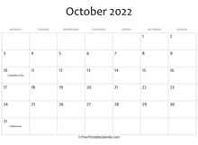 october 2022 calendar printable with holidays