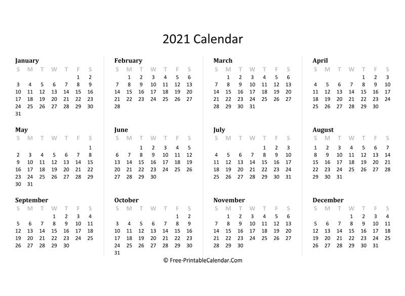 2021 Yearly Calendar