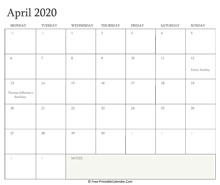 printable april calendar 2020 holidays