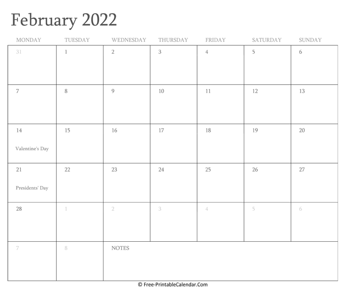 Printable February Calendar 2022 with Holidays