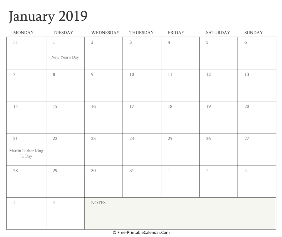 Printable January Calendar 2019 with Holidays