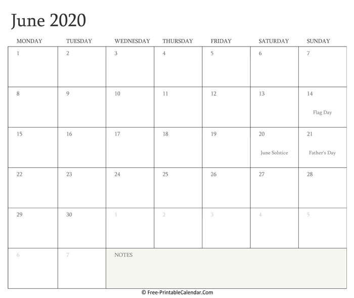 Printable June Calendar 2020 with Holidays