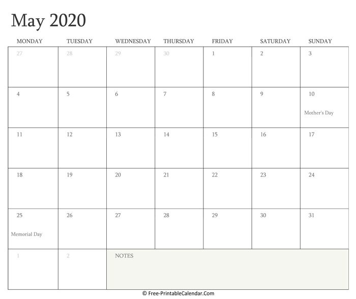 Printable May Calendar 2020 with Holidays