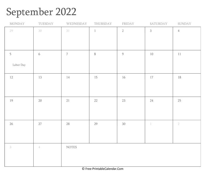 Calendar 2022 September.Printable September Calendar 2022 With Holidays