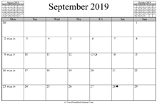September 2019 Calendar (horizontal)