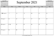 September 2021 Calendar (horizontal)
