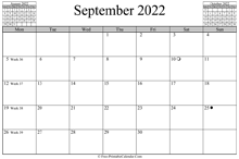 September 2022 Calendar (horizontal)